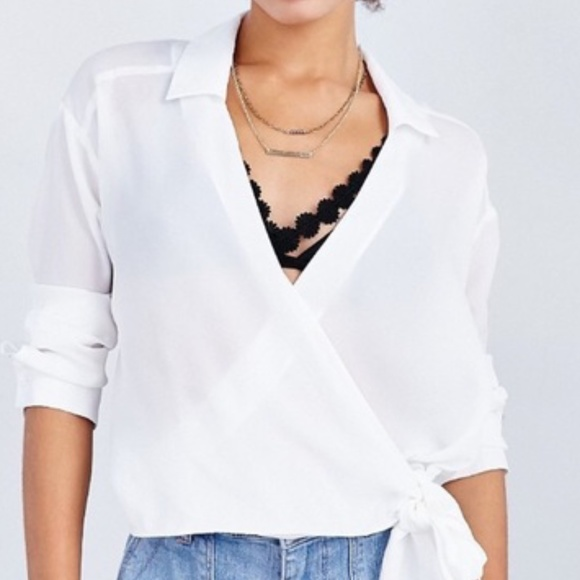 Lucca Couture Tops - Lucca Side Tie Sheer Blouse Urban Outfitters Small